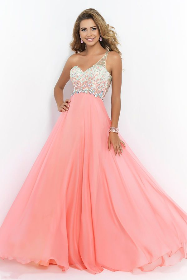 pink one-shoulder prom gown | 2015 New Arrival Prom Gowns,Long ...