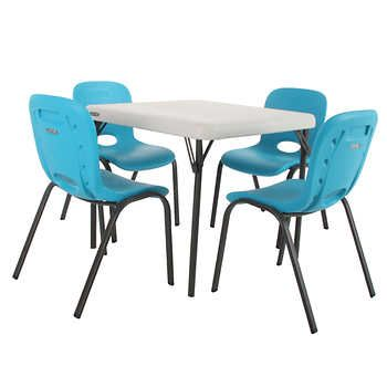 Lifetime Kids Table With 4 Blue Chairs Kid Table Kids Table Chairs Chair