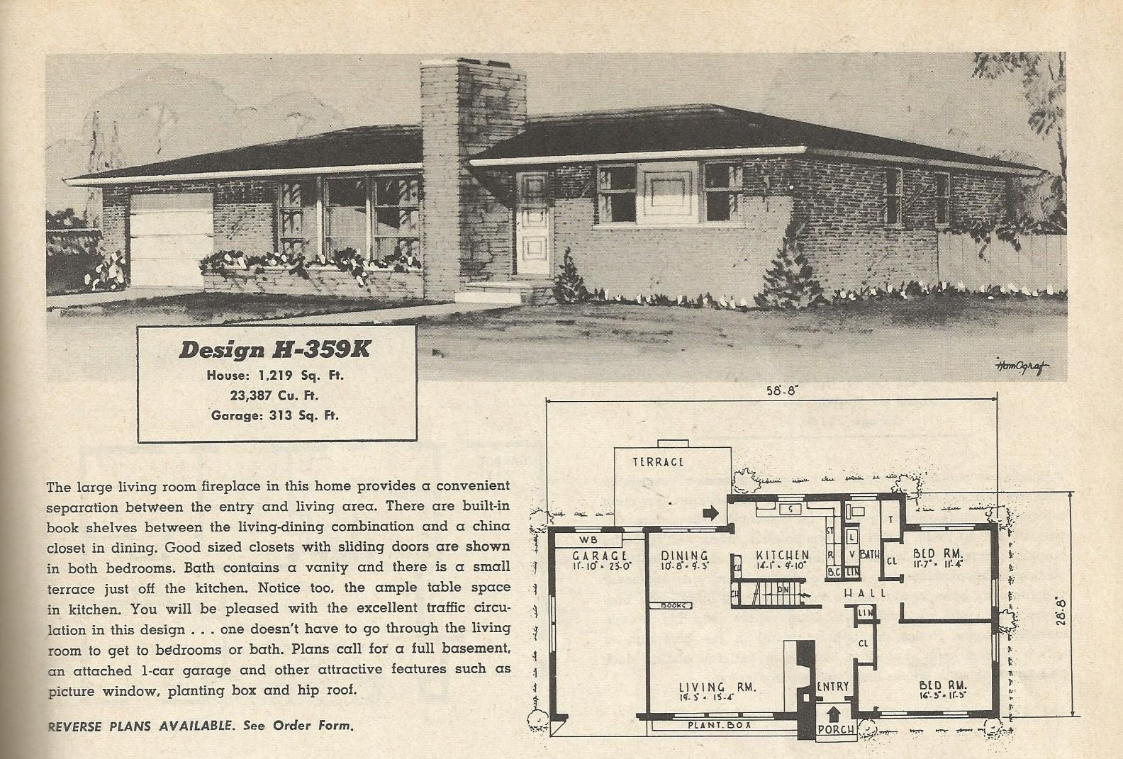 1950s ranch plans google search bungalow pinterest