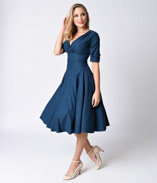 Unique Vintage 1950s Style Dark Teal Half Sleeve Delores Swing Dress