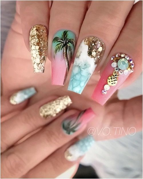 The Most Beautiful Coffin Acrylic nails Design for This Season – Page 3 of 20 – Fashion