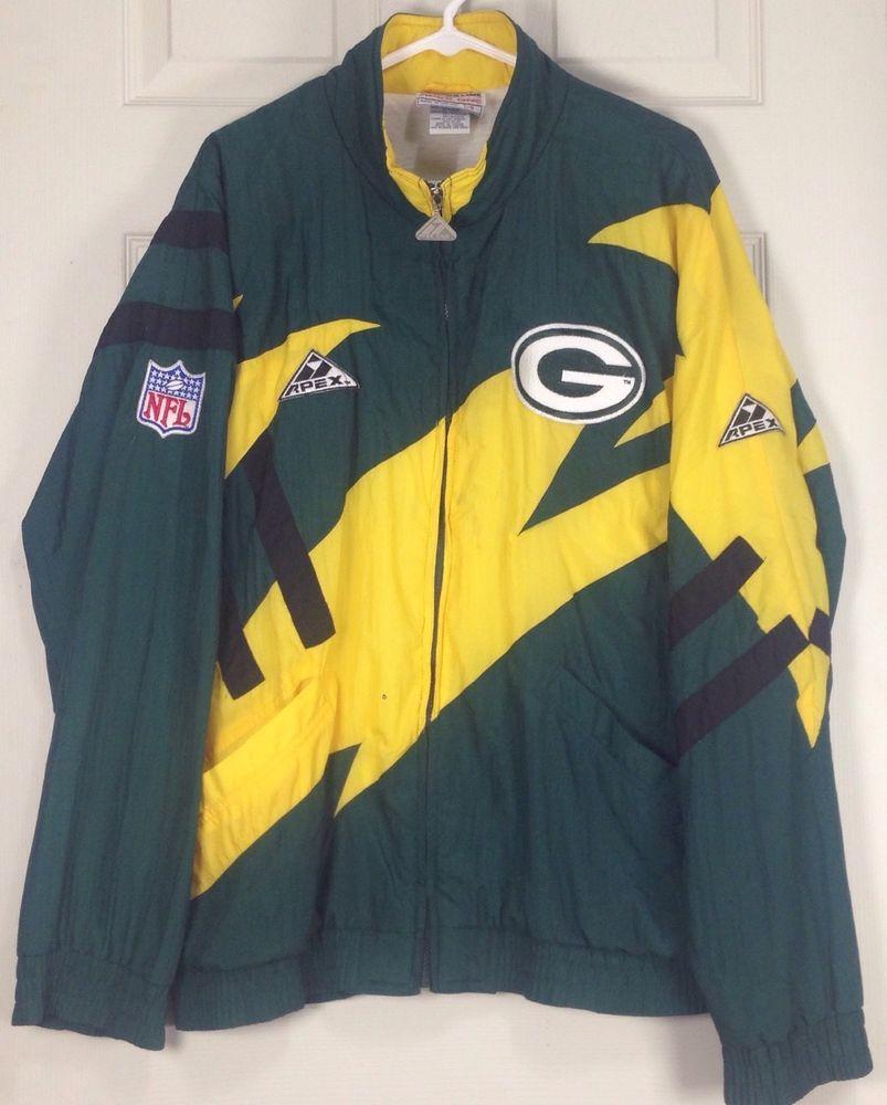 Vintage Proline Apex One L NFL Greenbay Packers Windbreaker Warm Up Jacket   Proline  GreenBayPackers 2777b2a17