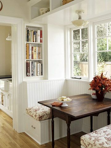 What a cute breakfast nook. I've always wanted one of these!!