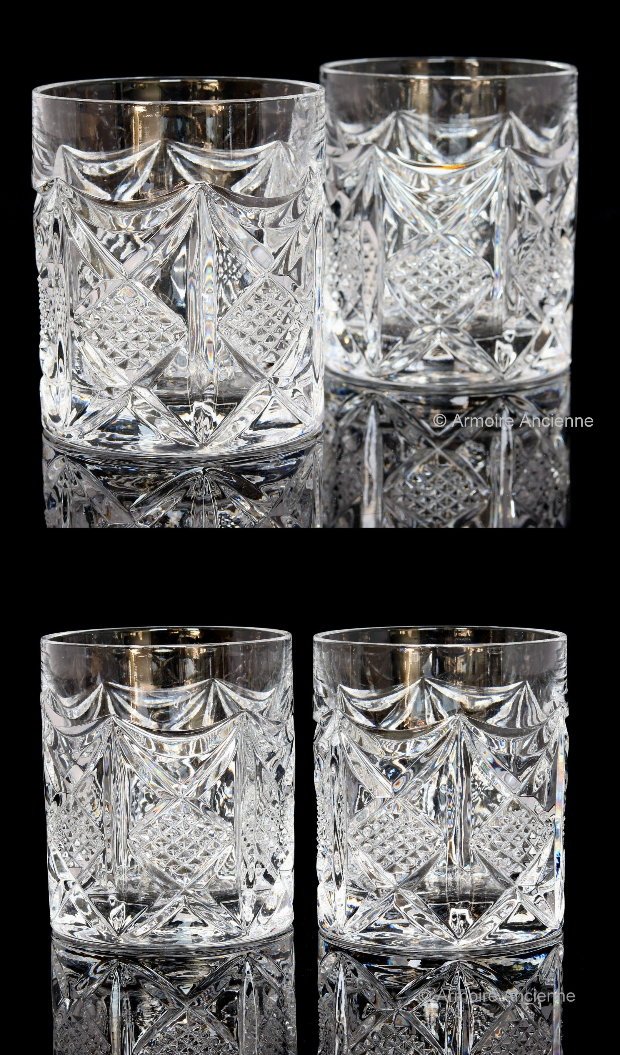 2x Crystal Whiskey Glasses Whisky Low Ball Glasses Old Fashioned Tumblers Mid Century Bar Cart Crystal Whiskey Glasses Whiskey Glasses Lowball Glasses