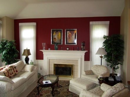 Burgundy Accent Wall In Living Room Burgundy Living Room Paint