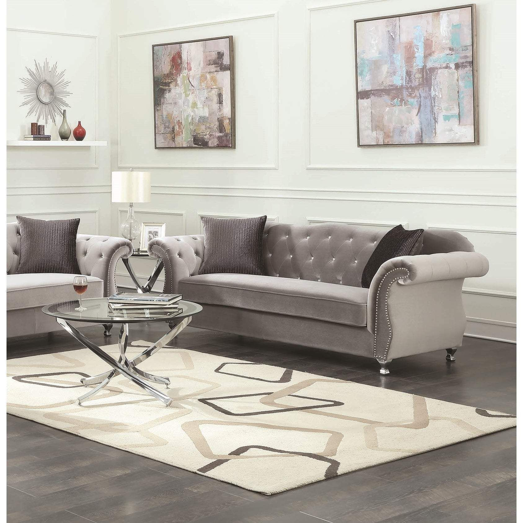 Photo of Frostine Traditional Silver Sofa – Silver