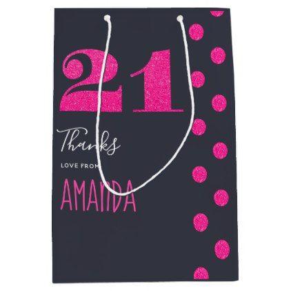 21st Birthday Party Hot Pink Glitter Thank You Medium Gift Bag