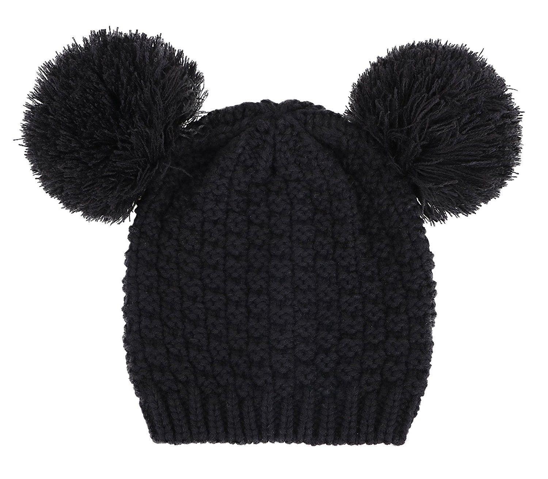 1fd84ee12d0 Women s Winter Chunky Knit Beanie Hat w Double Pompom Ears - Black ...
