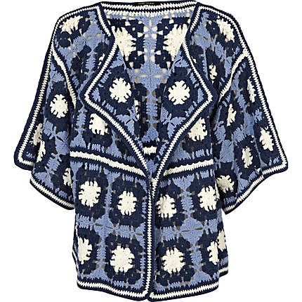 Blue Flower Crochet Cardigan. Would be easy to copy (instead of paying £50)
