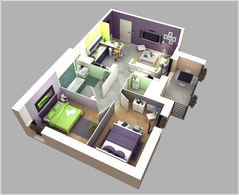 Two Bedroom House Design Pictures Stunning Two Bedroom Apartment 3D Floor Plans  Floor Plans  Pinterest Inspiration
