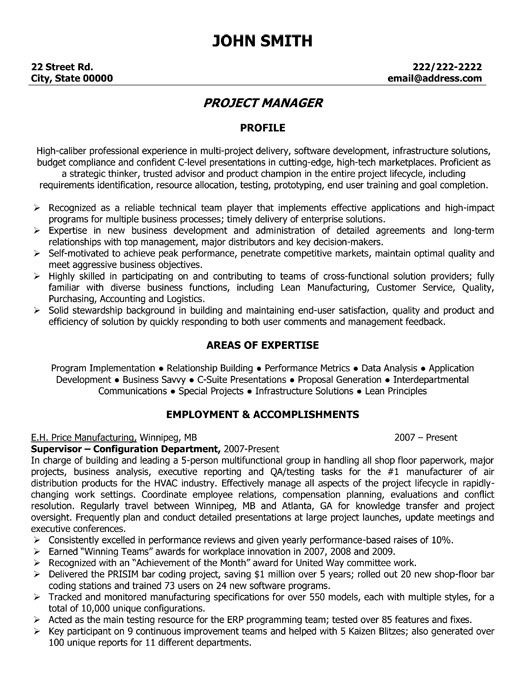 Sample Resume Of Information Technology Manager - IT Manager Resume
