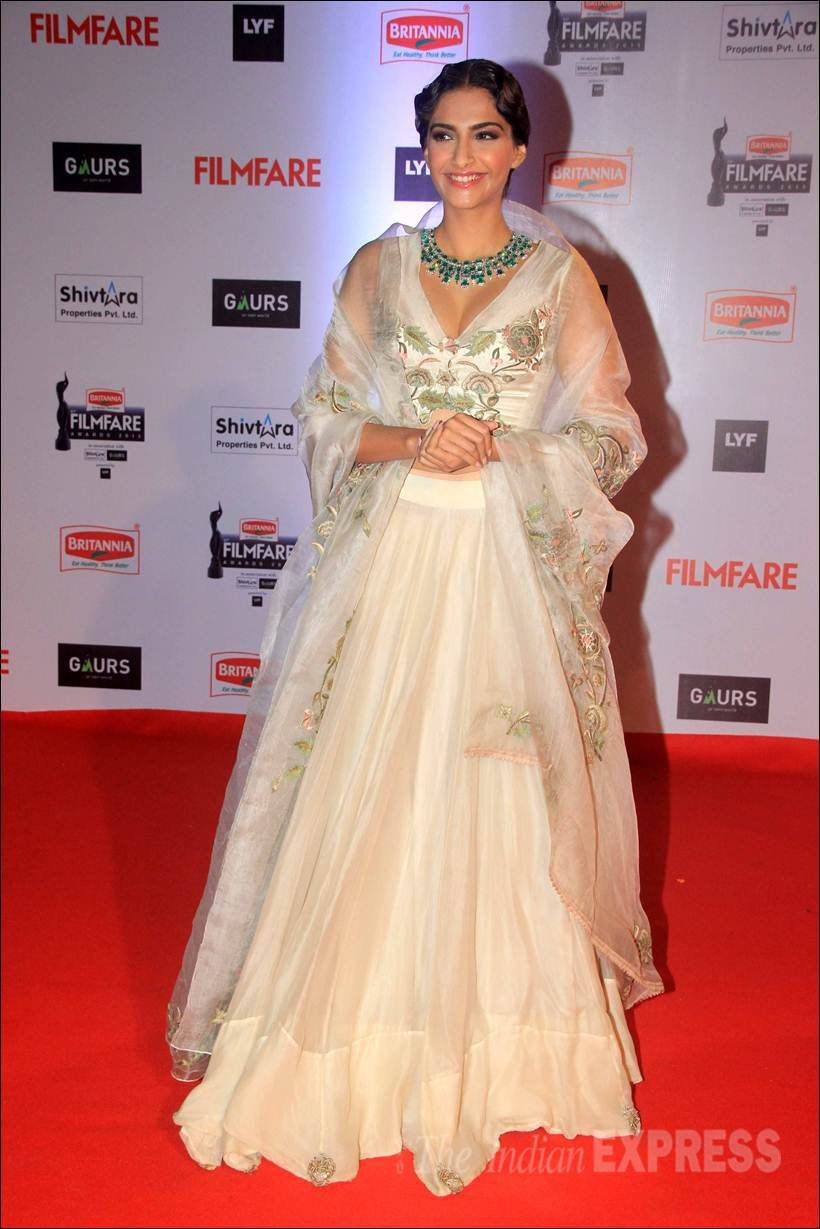 Sonam Kapoor in a white Anamika Khanna lehenga on the red