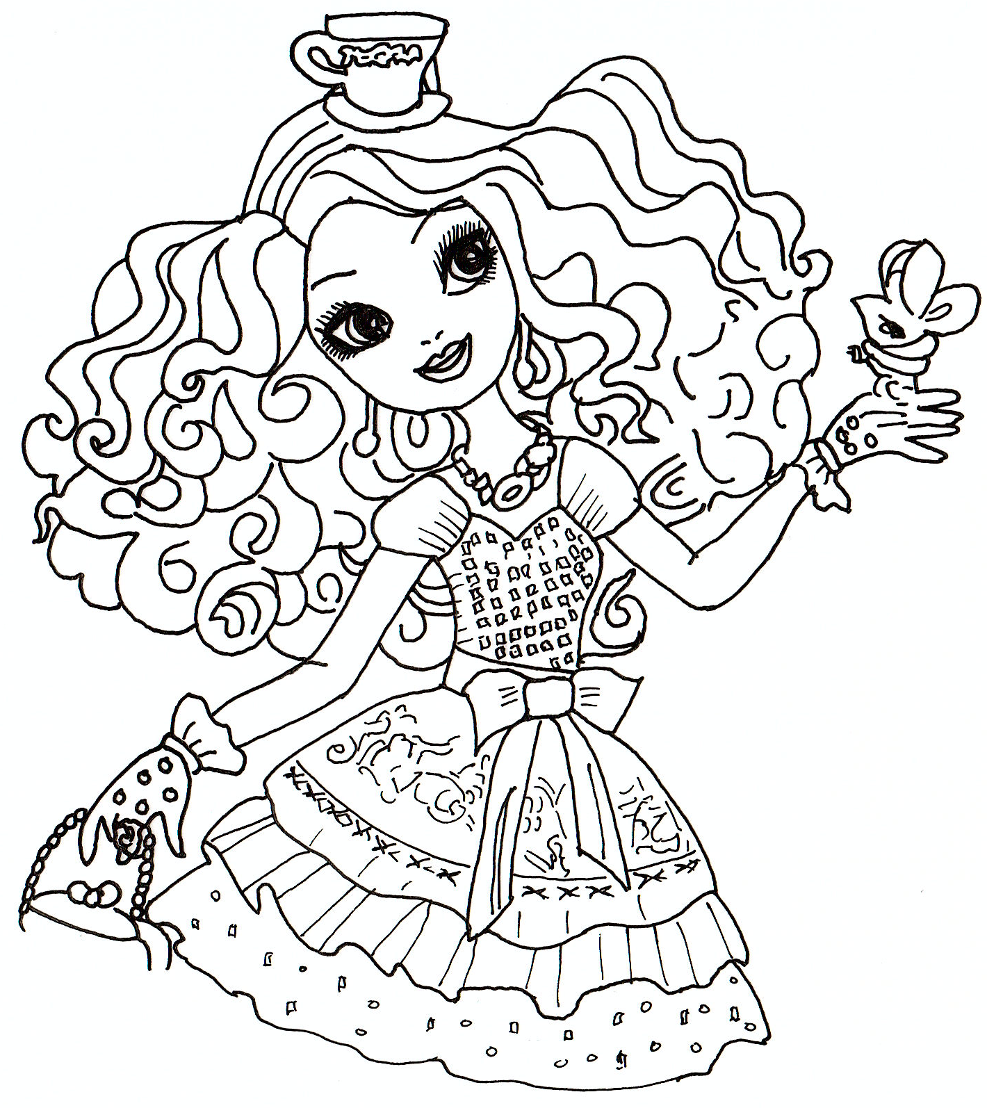 ever after high free coloring pages madeline hatter ever after