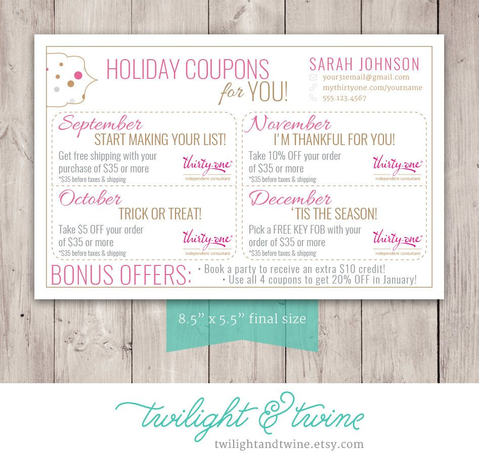 Thirty-one Coupon Sheets - Custom PDF Printable ( Thirty One, 31 ...