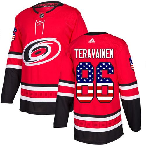 02e3e94d0ba Adidas Hurricanes #86 Teuvo Teravainen Red Home Authentic USA Flag Stitched  Youth NHL Jersey