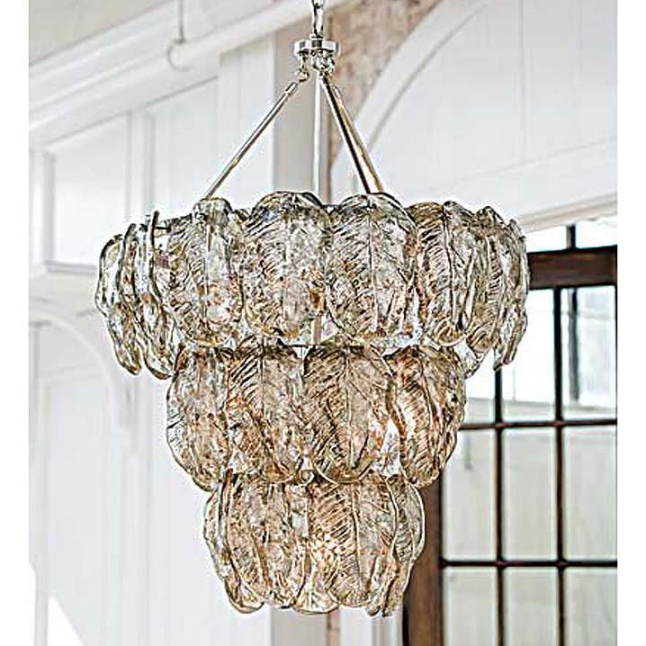 Silver glass leaves chandelier by Regina Andrew.