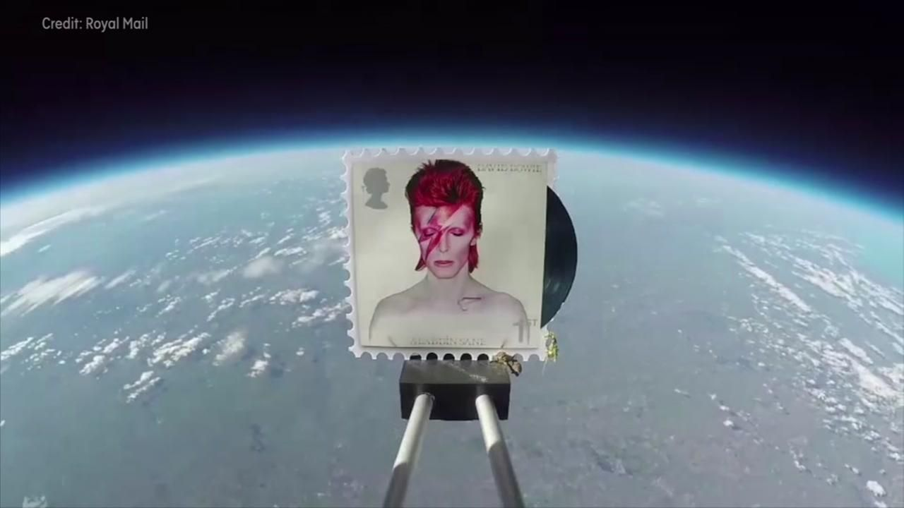 British mail company launches David Bowie stamps into space