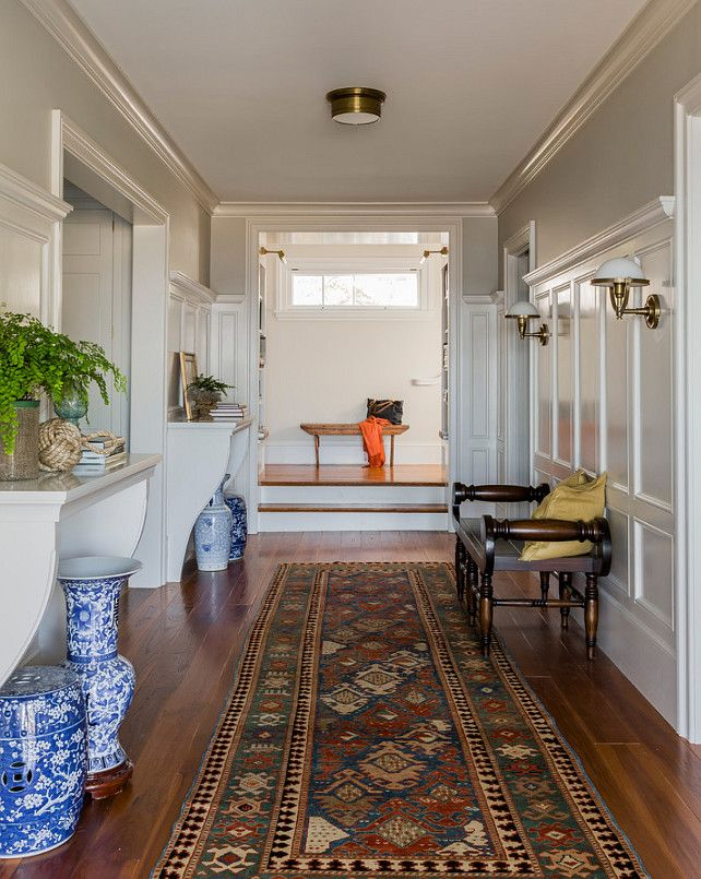 House Tour: Gloucester, MA - Design Chic - great entrance and blue and white porcelain in the beach cottage!