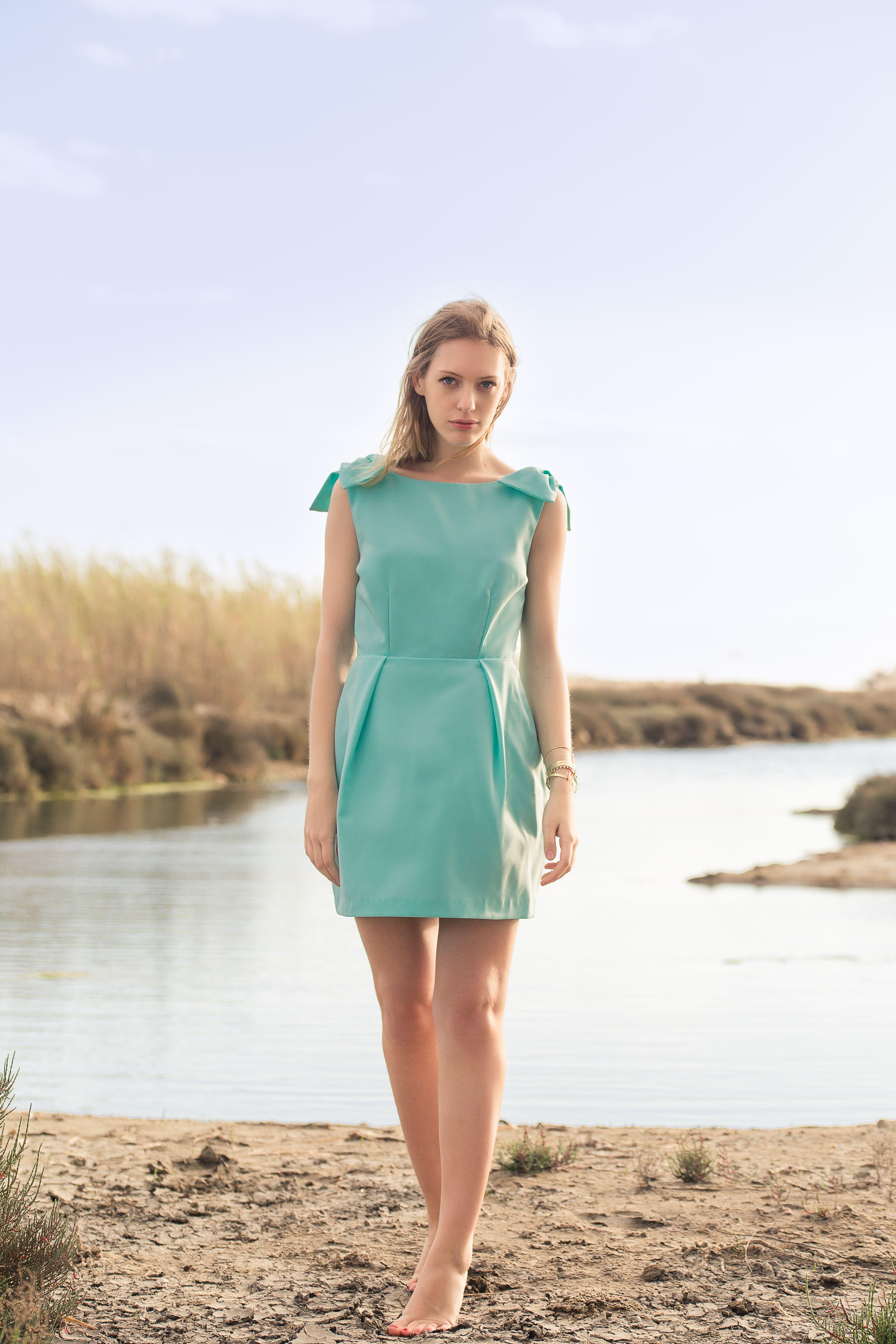 Robe Lilie dos nu vert d eau Poldine   Robes dos nu   Robe et Dresses 13d9cb518193