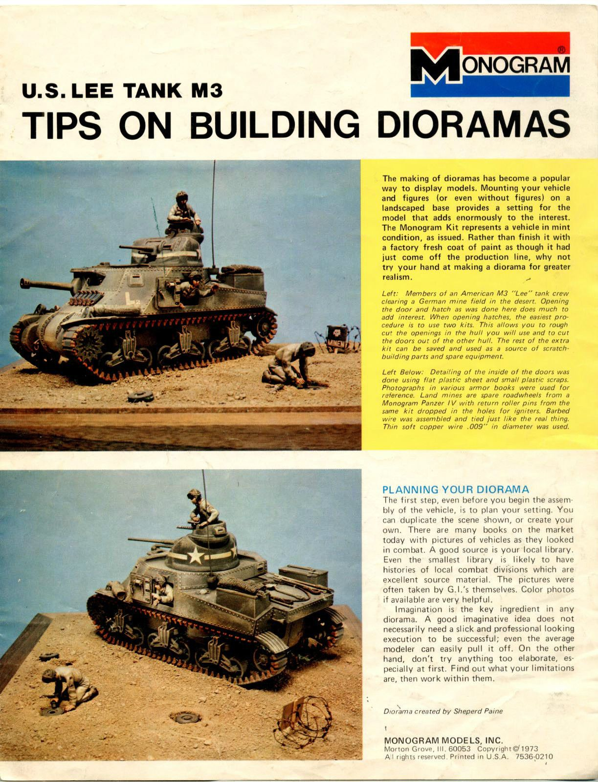 Old Monogram Diorama Sheet From Shep Paine For The M3 Model Diorama Military Modelling Plastic Model Kits