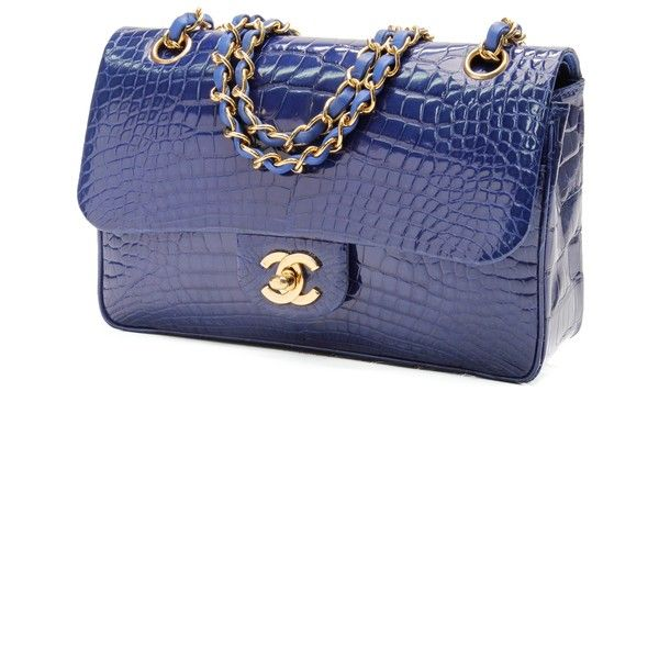 12354664b71ae1 Pre-Owned Chanel Electric Blue Alligator Small Classic Double Flap Bag  ($18,000) ❤ liked on Polyvore featuring bags, handbags, white handbags,  chanel ...