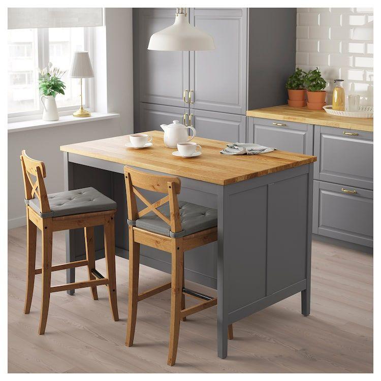 Tornviken Kitchen Island Gray Oak Length 49 5 8 Ikea Freestanding Kitchen Island Ikea Kitchen Island Grey Kitchen Island