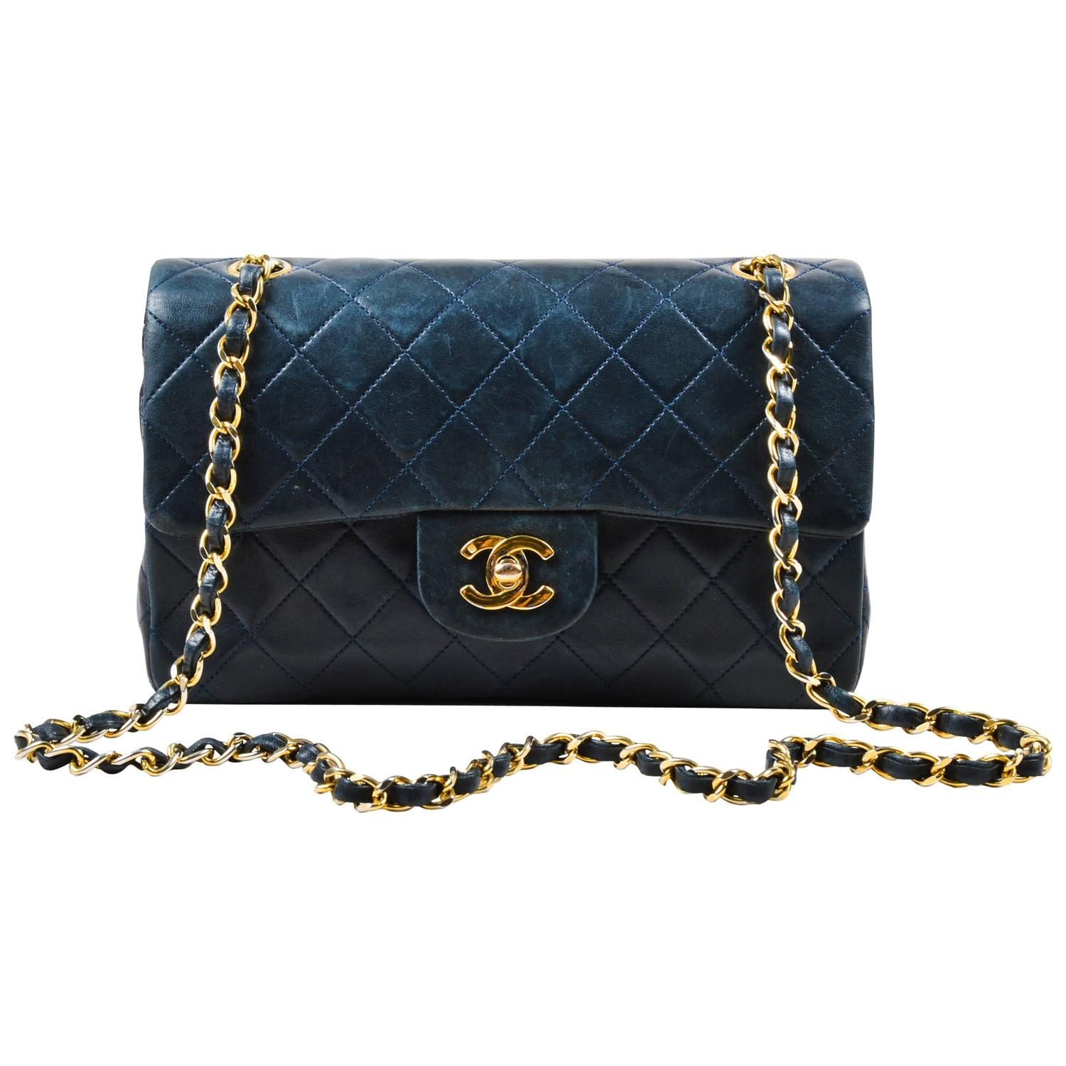 be3baaf8fb8d Vintage Chanel Navy Blue Gold Tone Chain Strap