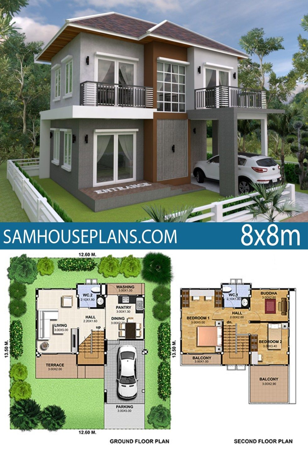 House Plan 8x8m With 3 Bedrooms Sam House Plans Model House Plan House Plans Open Floor House Plans