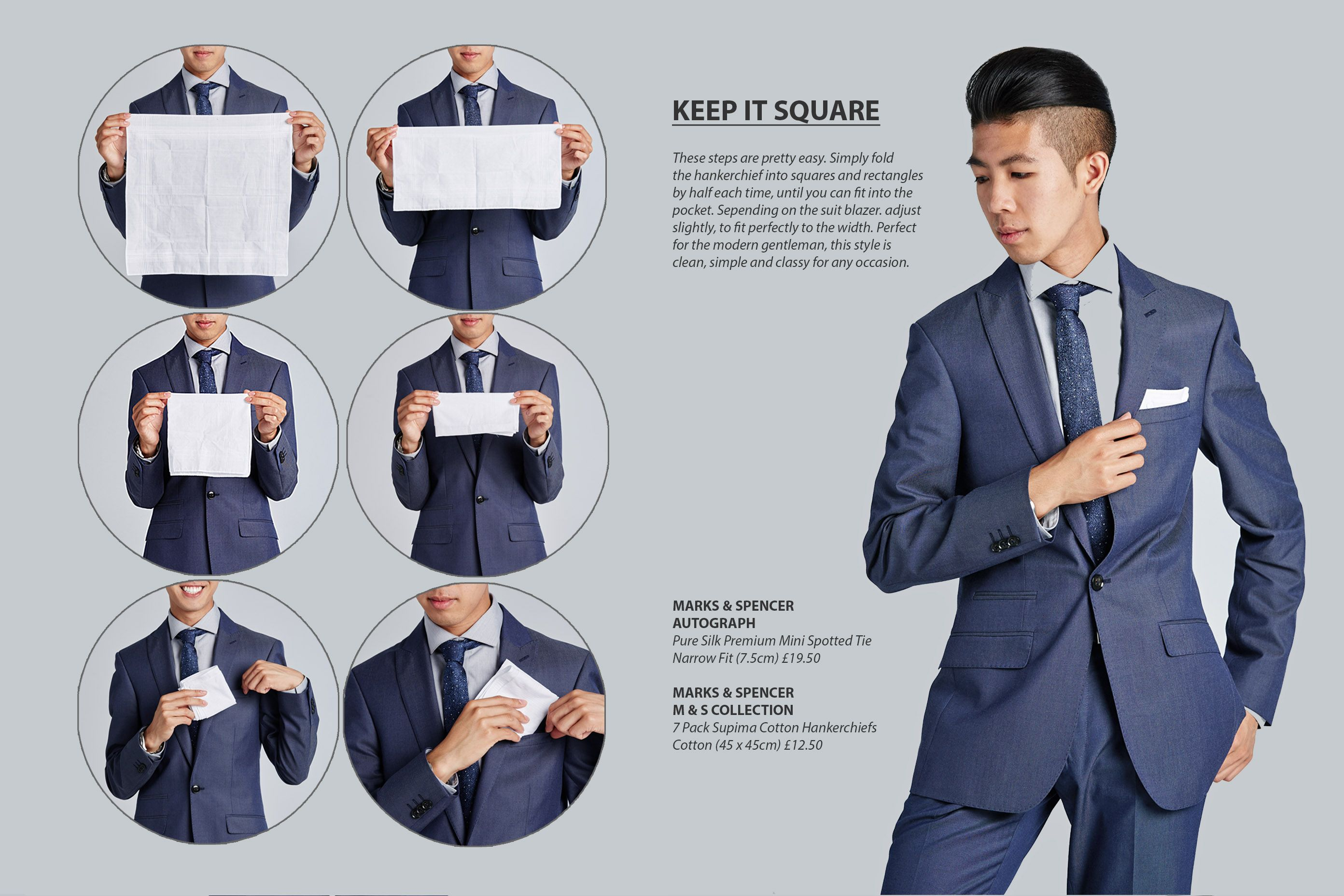 How to fold a pocket square  menswear handkerchief infographics style guide ec66823ac7c