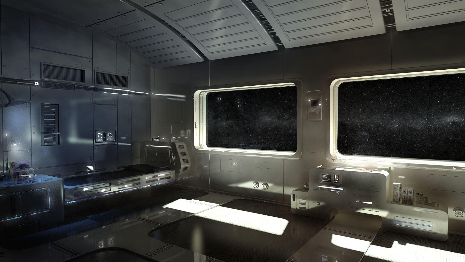 Space Station Spaceship Interior Wallpaper Space Futuristic Interior