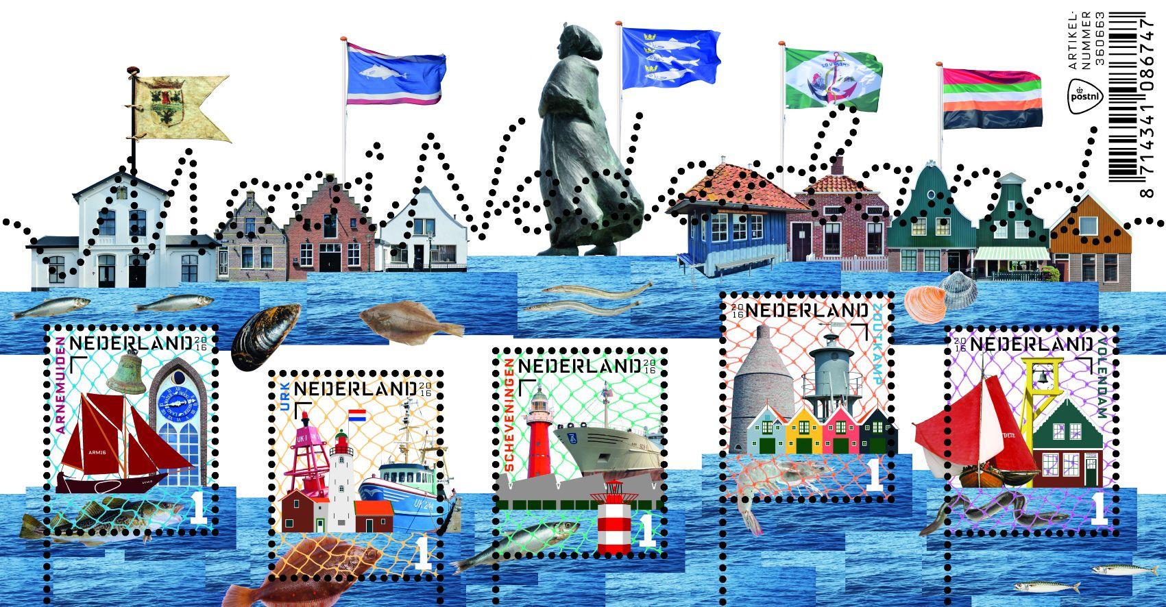 Mooi Nederland Vissersplaatsen  http://collectclub.postnl.nl/mooi-nederland-2016-vissersplaatsen-verzamelvel.html