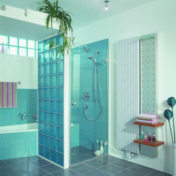 Glasbausteine Im Bad glasbausteine für dusche interessante blaue farbe bad