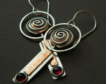 Mixed metal jewelry mixed metal earrings by EvolveJewelryStudio
