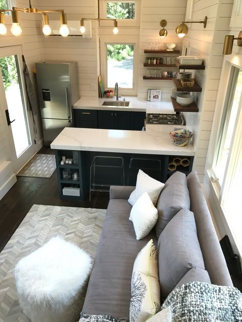 Absolutely love both the kitchen and bathroom vanity double sinks  area with stool we would use bunk as an office also how to design staircase for your tiny home house rh pinterest