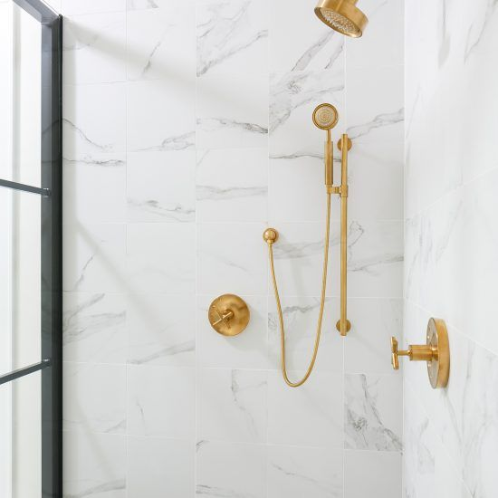Portoghesi Marble Showers Framed Shower Enclosures Brass