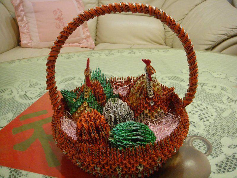 3d Origami Origami Gift Basket Origami Pinterest