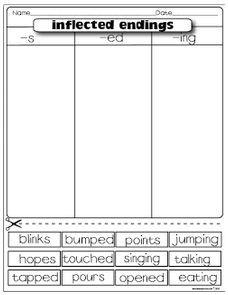 Image result for inflectional endings worksheet   Intervention ...