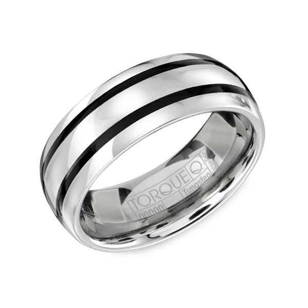 Crown Ring Tungsten With Black Enamel Stripes 8mm Comfort Fit Mens Wedding Band