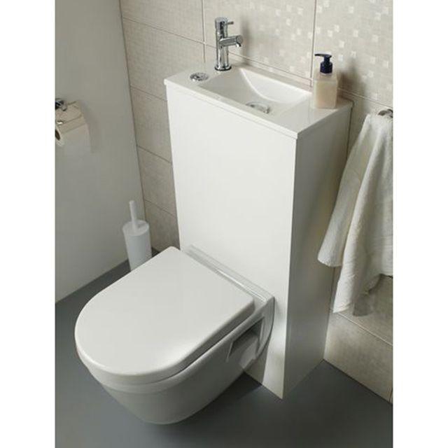 Pack Wc Lave Mains Suspendu Duo Meuble Wc Suspendu Amenagement Toilettes Wc Lavant