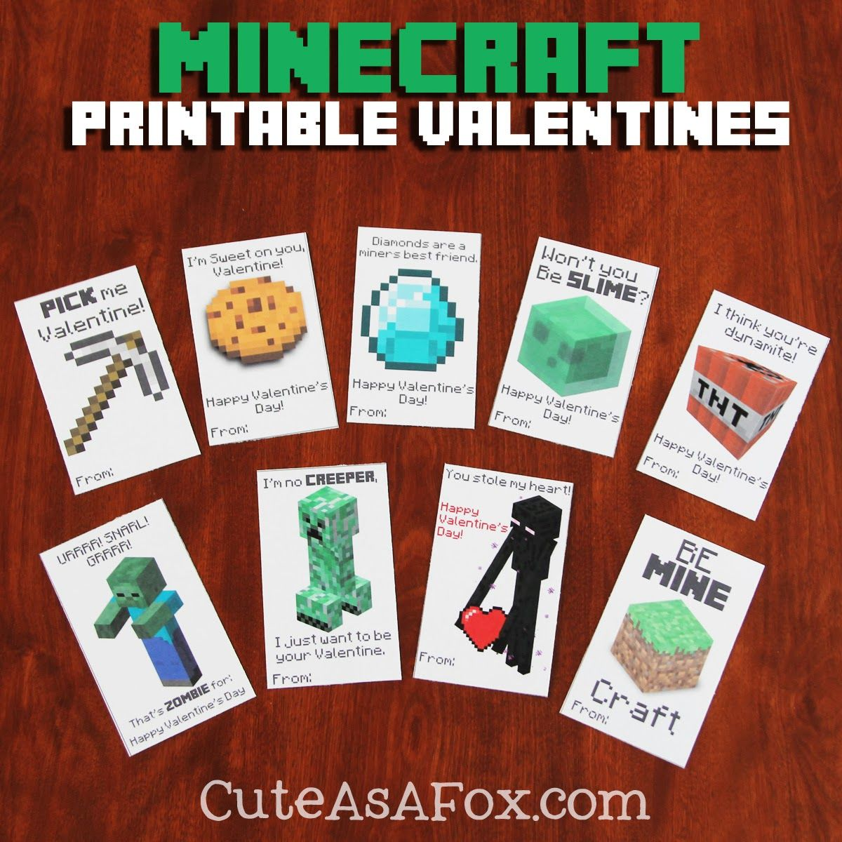 Gorgeous image in printable minecraft valentines