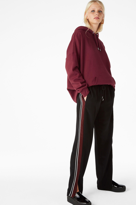 Monki Image 2 of Side stripe trousers in Black
