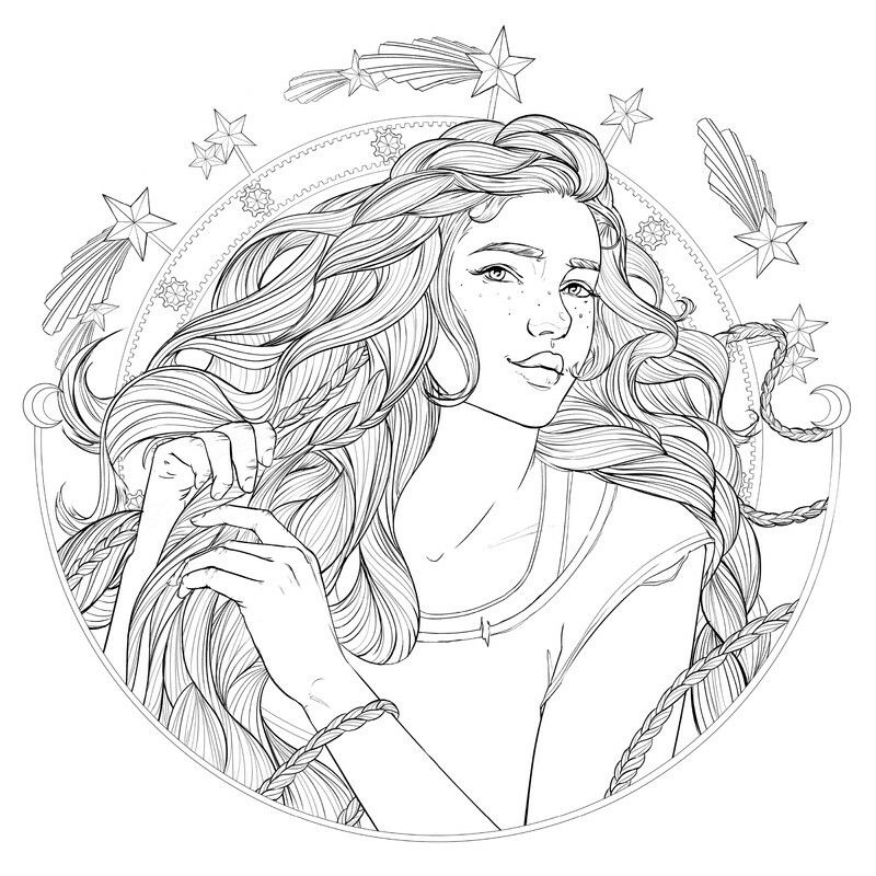 Coloring Page Of Cress From The Lunar Chronicles Coloring Book