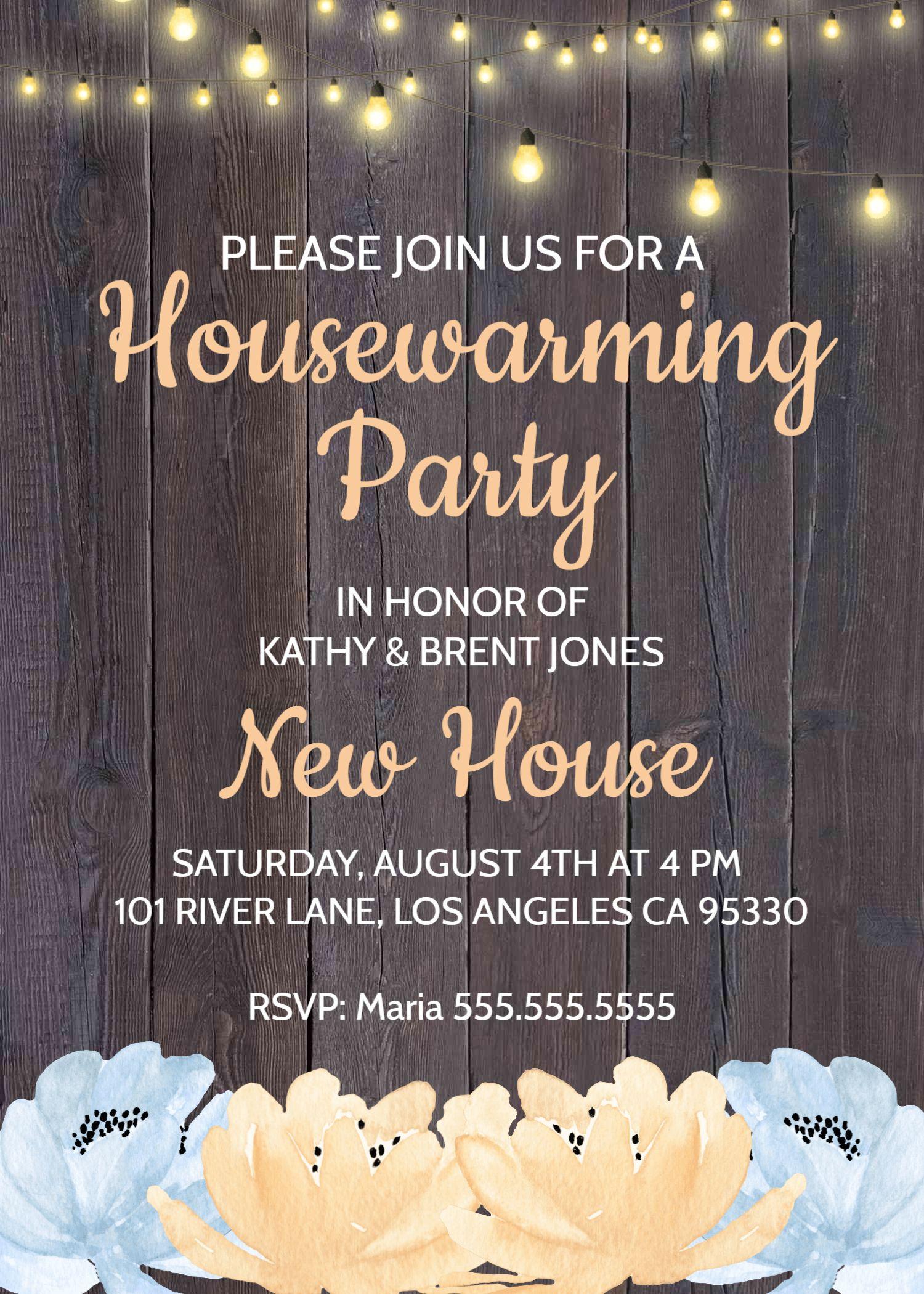 Rustic Housewarming Invitation  House Warming Party Invite  Barnwood