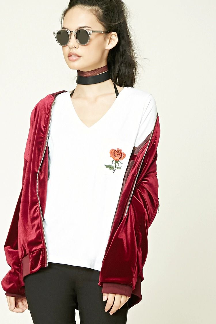"""A cotton-blend V-neck tee featuring a chest patch pocket with a rose embroidery, a """"No Love Without Pain"""" embroidered graphic on the back, and short sleeves."""
