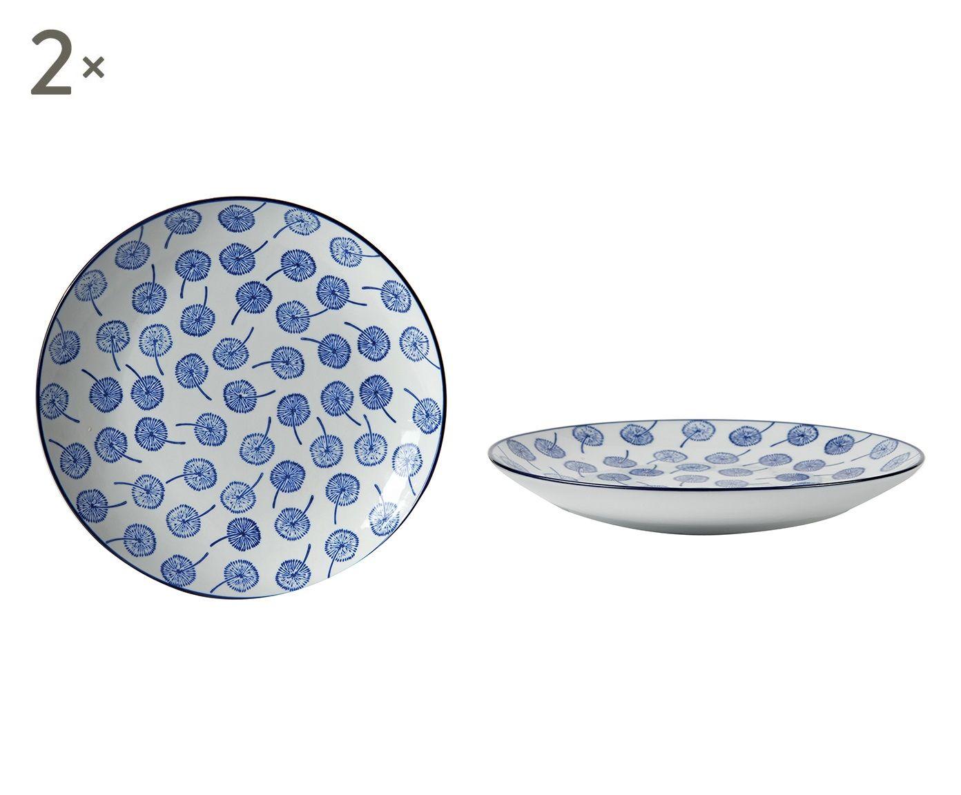 Set di 4 piatti piani in porcellana coll. Indaco, fantasia 3 - D 25 cm | Dalani Home & Living