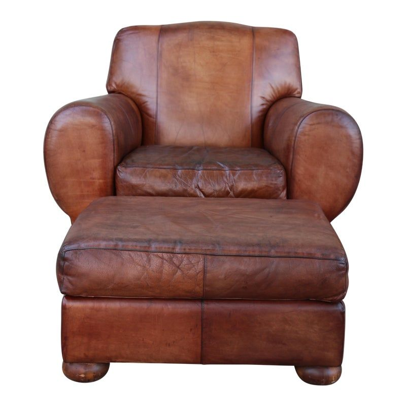 1960s Vintage Leather Club Chair & Ottoman in 2020