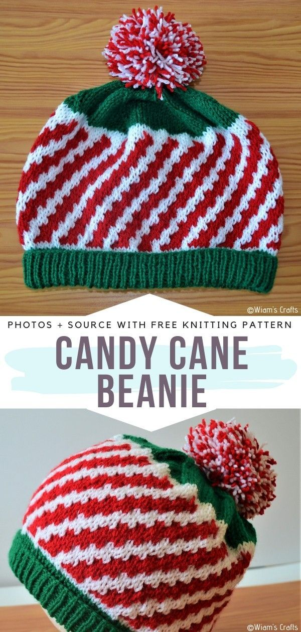 Candy Cane Beanie Free Knitting PatternDeliciously adorable and so easy to make, this is the perfect knitted winter hat for beginners who love the magical Christmas atmosphere. Try this pattern out, we think you will love it more than you love candy!#knittedhat #christmashat