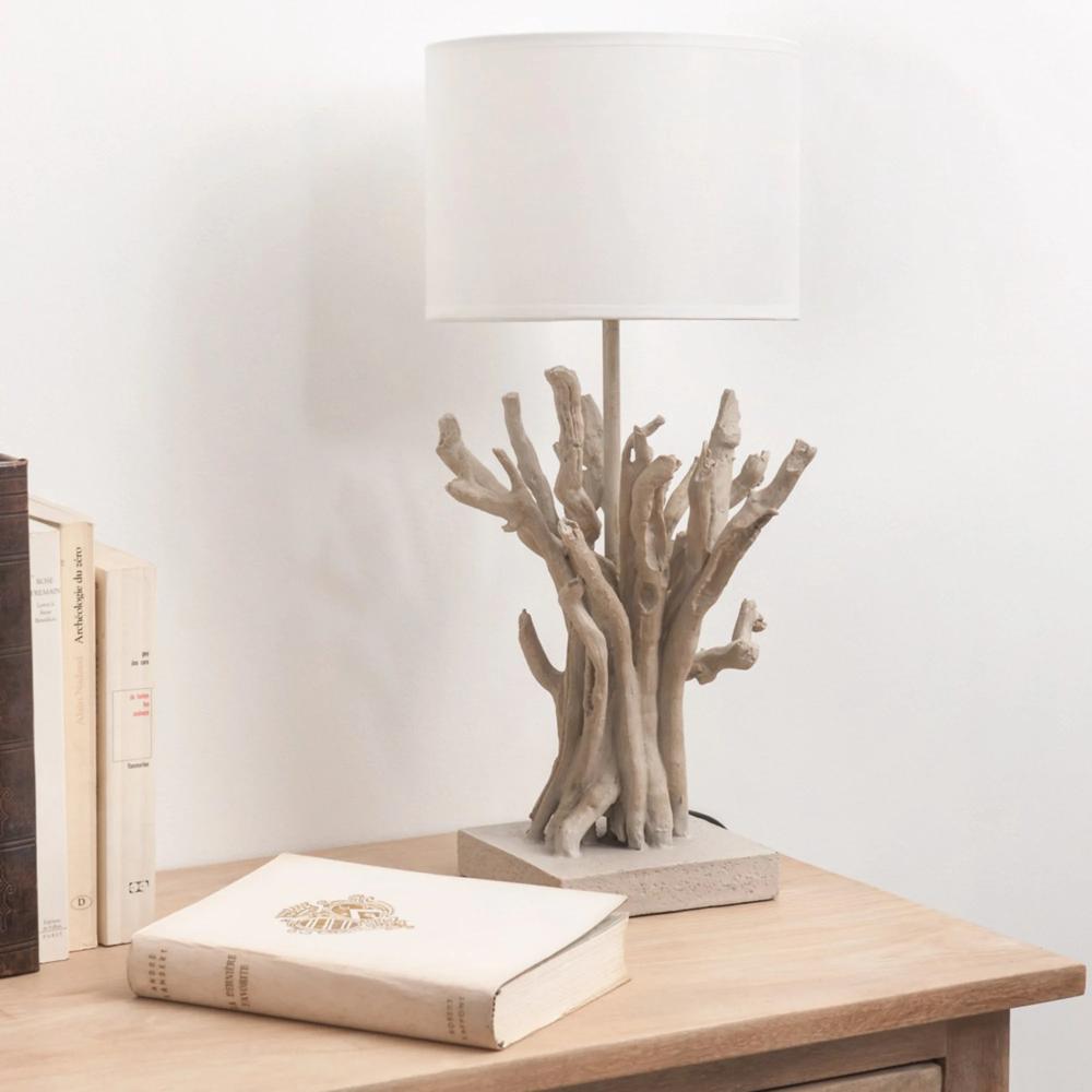 Lampe Imitation Bois Flotte Et Abat Jour Blanc In 2020 Bedside