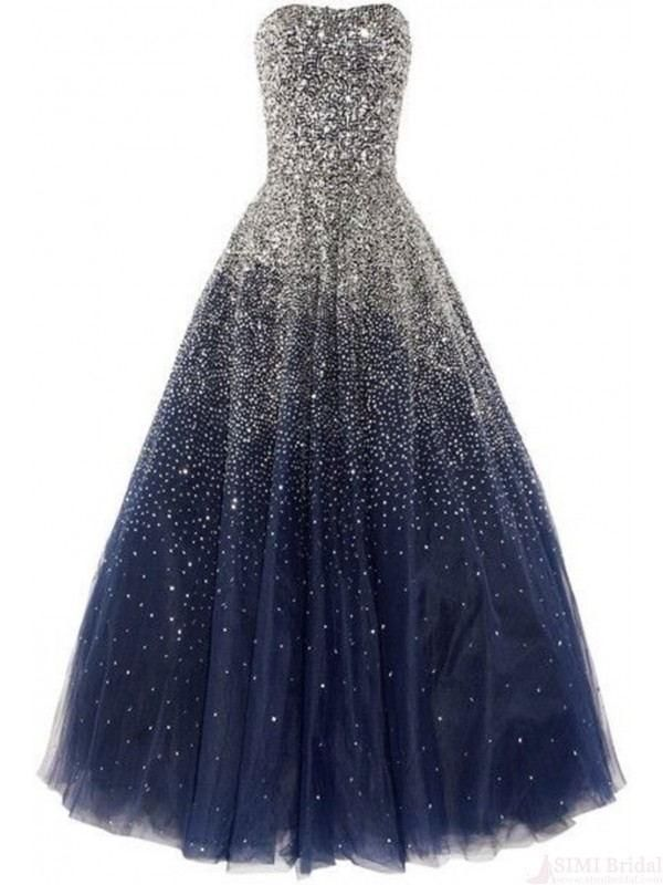 Real Beauty Long Ball Gown Strapless Sequin Shiny Modest Prom Dresses K113 #modestprom