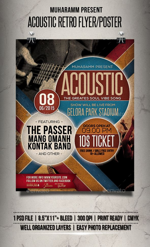 Acoustic Retro Flyer  Poster  Acoustic Retro And Flyer Template